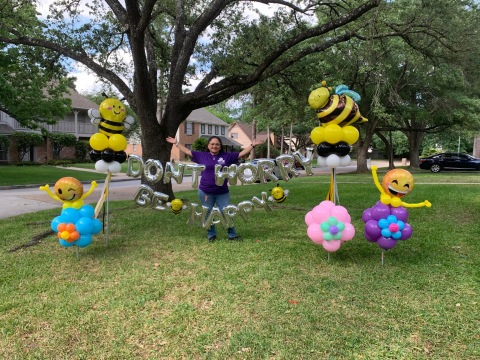 Charley Infante, Texas: Creating colorful balloon displays on her front lawn to spread joy to her neighborhood (Photo: Business Wire)