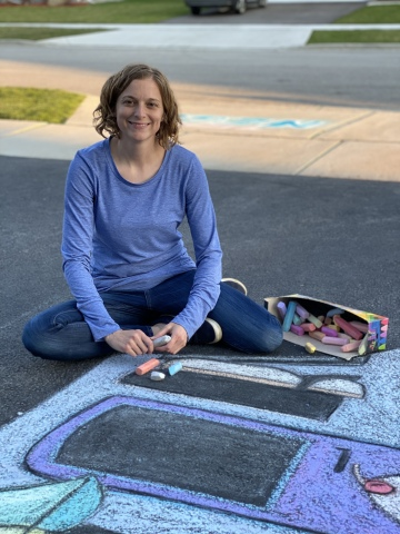 Stacy Lazzara, Illinois: Using her artistic talent to draw awe-inspiring chalk art to brighten people's days (Photo: Business Wire)