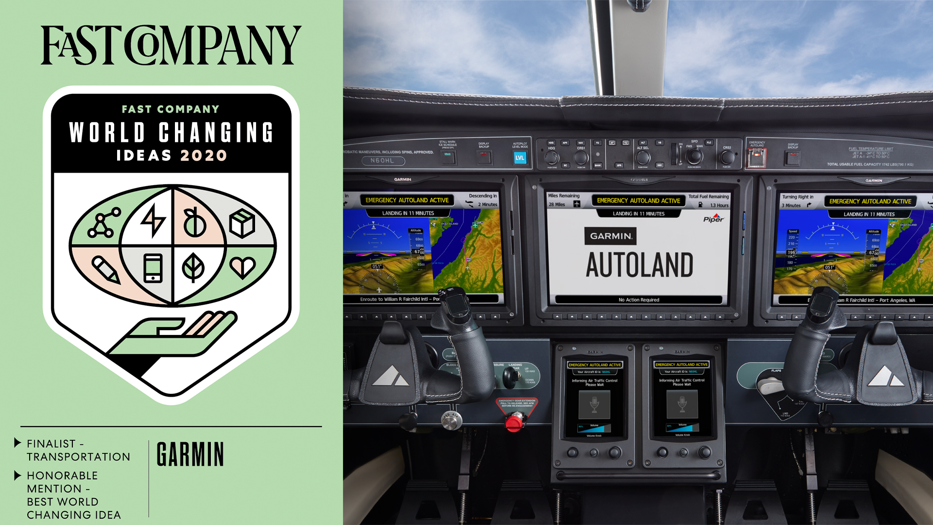 Garmin Autoland Autonomous Flight Technology Named Finalist In Fast Company S 2020 World Changing Ideas Awards Business Wire