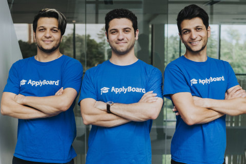 ApplyBoard Founders (L) Meti Basiri, CMO and Co-Founder (C) Martin Basiri CEO and Co-Founder, and (R) Massi Basiri, COO and Co-Founder (Photo: Business Wire)