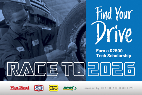 The Icahn Automotive scholarship program invites aspiring technicians to 'Find Your Drive' and apply for one of twelve scholarships of $2,500 each that will be available to qualified students studying to become professional automotive technicians. #TechsGoFurther (Graphic: Business Wire)
