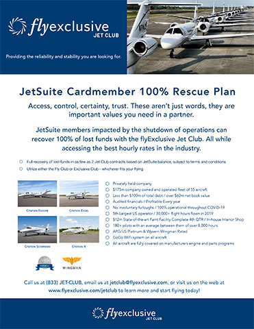 flyExclusive will match JetSuite Card Members' lost funds 100% with Jet Club (Graphic: flyExclusive)