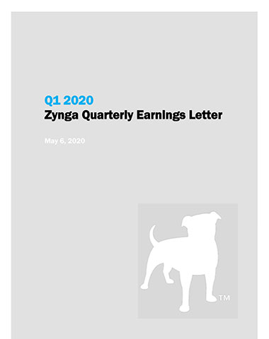 ZYNGA ANNOUNCES FIRST QUARTER 2020 FINANCIAL RESULTS