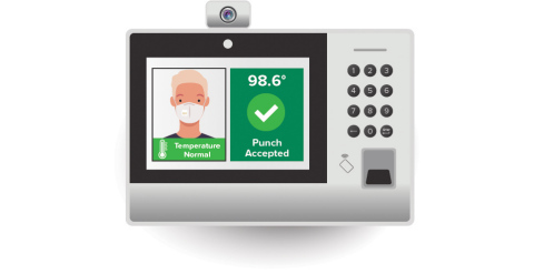 Ascentis CarePoint's patent-pending thermal sensor seamlessly integrates with the Ascentis NT8000 time clocks for the most accurate touchless temperature reading, comes with a full range of voice-command actions improving workforce safety.  (Photo: Business Wire)