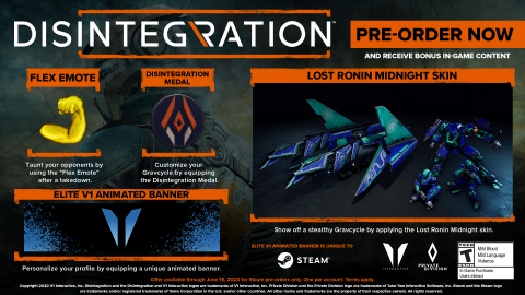 Players who pre-order the game will receive bonus cosmetic digital content for multiplayer gameplay, including a unique Lost Ronin Midnight crew skin, Flex emote, Disintegration Medal Gravcycle attachment, and platform-exclusive animated player banners. Pre-orders for Disintegration are available now for Xbox One and PC via Steam. (Graphic: Business Wire)