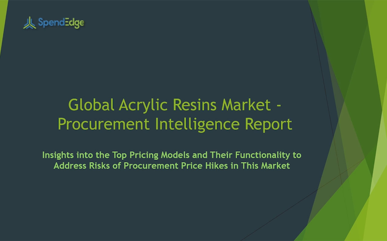 SpendEdge has announced the release of its Global Acrylic Resins Market Procurement Intelligence Report