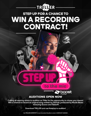 Boost Mobile and Triller join forces to give an aspiring artist the chance of a lifetime to collaborate with Starrah, Murda Beatz, Quavo, and Takeoff with Step Up to the Mic Talent Search Competition (Graphic: Business Wire)