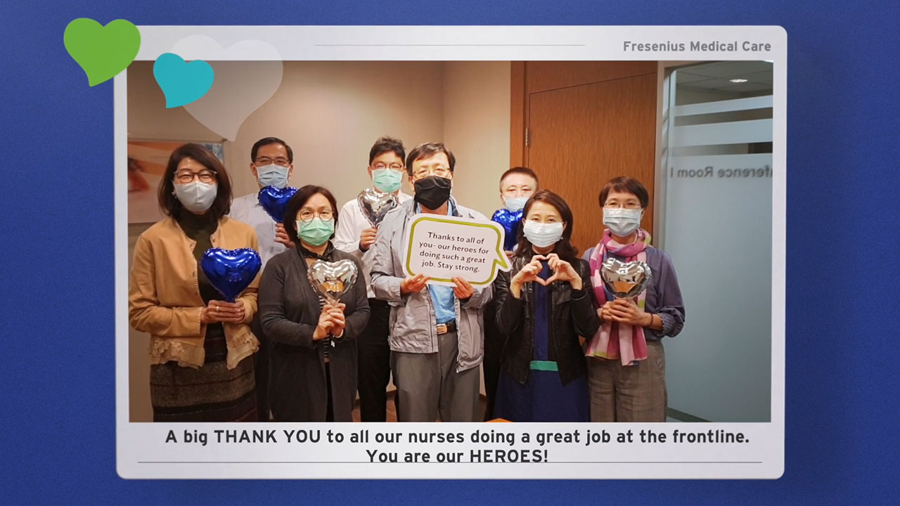 Through the 'Share that you care' video messages to nurses, office-based employees of Fresenius Medical Care acknowledge and thank nurses for all that they do.