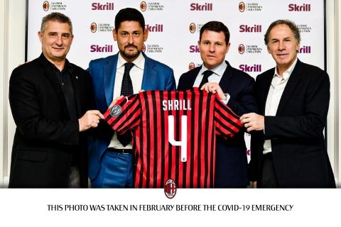 Daniele Massaro, AC Milan Brand Ambassador; Lorenzo Pellegrino, Skrill CEO; Casper Stylsvig, AC Milan's Chief Revenue Officer; and Franco Baresi, AC Milan Brand Ambassador (from left to right) (Photo: Business Wire)