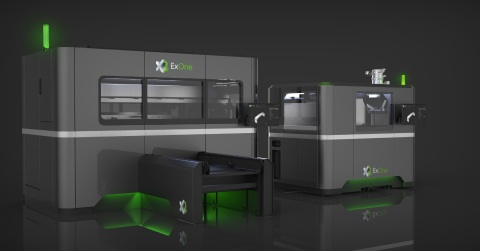 ExOne's new metal 3D printers, the X1 160Pro, left, and the X1 25Pro feature a modern new look. The industrial binder jet systems feature a charcoal gray metal body, a stainless steel beltline, rounded corners and green lighting below the machine to highlight the sustainable qualities of the #MakeMetalGreen production systems.