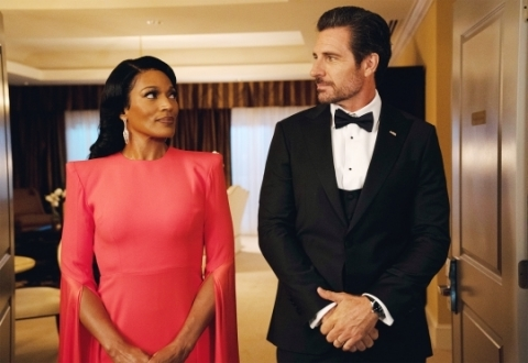 "From L-R- First Lady 'Victoria Franklin,' played by Kron Moore and 'President Hunter Franklin,' played by Ed Quinn star in ""Tyler Perry's The Oval"" on BET (Photo: Business Wire)"