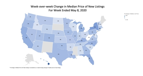 U.S. Map: Week-over-week Change in Median Price of New Listings for Week Ending May 8, 2020 (Graphic: Business Wire)