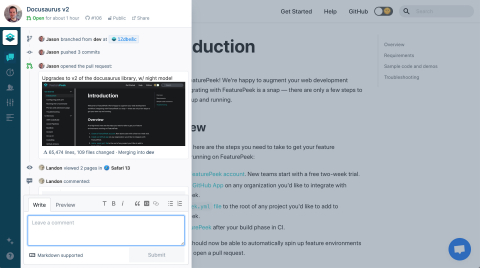 FeaturePeek's drawer sits on top of deployment previews and adds powerful tools like comments, screenshots and more. (Graphic: Business Wire)