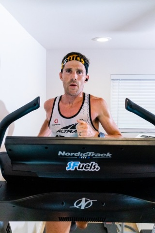 Ultramarathoner Zach Bitter sets a new World Record running 100 miles on a treadmill in 12:09:15, running on a NordicTrack treadmill in his Phoenix home. (Photo: Business Wire)
