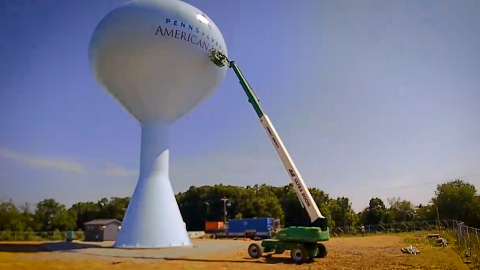 Final work being completed on a new Pennsylvania American Water tank in Canton Township, Washington County, in 2019 (Photo: Business Wire)