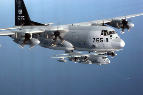 BAE Systems, Inc. was awarded a prime position on a $26.7 million task order by the U.S. Navy for installing, integrating, and testing the Large Aircraft Infrared Countermeasures system on KC-130J aircraft. (Photo: BAE Systems)
