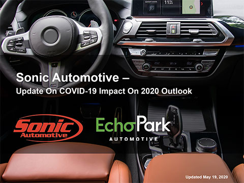 Sonic Automotive provides update on COVID-19 impact on 2020 outlook.