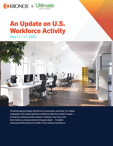 Analyzing 30,000 businesses with more than 3.2 million total employees, the U.S. Workforce Activity Report from Kronos Incorporated provides an immediate view into the preceding week's data, including employee shifts worked, new hires, terminations, and pay statements. The report – currently analyzed and released weekly – compares workplace trends since the week ending March 15, 2020, when the U.S. declared a national state of emergency, against pre-pandemic conditions.