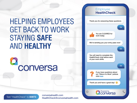 Conversa's COVID-19 Employee HealthCheck provides a quick, simple screening before work. (Graphic: Business Wire)