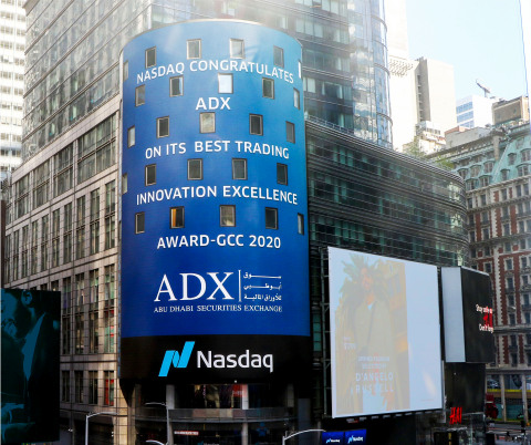 Message displayed on Nasdaq tower today at Times Square in New York (Photo: AETOSWire)