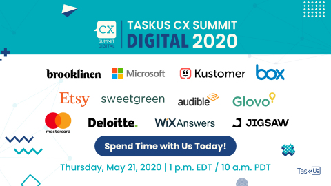 TaskUs' first digital CX Summit features speakers from Etsy, sweetgreen, Brooklinen and more. (Graphic: Business Wire)