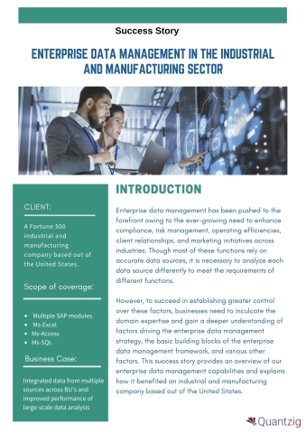 Enterprise Data Management in the Industrial and Manufacturing Sector (Graphic: Business Wire)