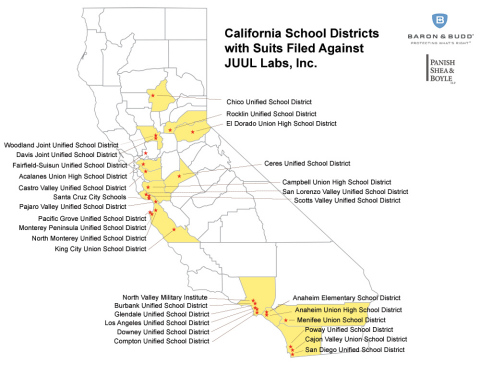 California School Districts with Suits Filed Against JUUL Labs, Inc. (Photo: Business Wire)