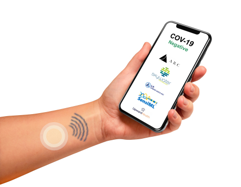 Smartphone-enabled wireless patch provides self-health monitoring and public health contact tracing to support roadmap to reopen the country (Photo: Business Wire)