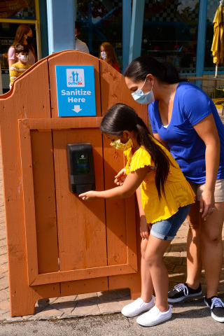 When Six Flags parks reopen, multiple hand-washing and alcohol-based hand-sanitizer stations will be available to guests and employees. (Photo: Business Wire)