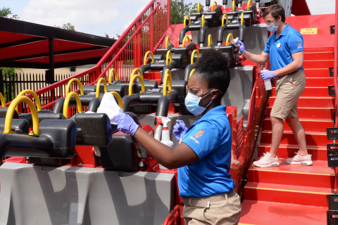 Six Flags clean teams will clean rides, restraints, and railings throughout the day. (Photo: Business Wire)