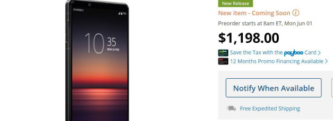 Sony Xperia 1 II Smartphone; Price and Pre-order Available at B&H (Photo: Business Wire)