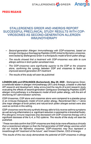 Stallergenes Greer and Anergis report successful preclinical study results with COP-virosomes as second-generation allergen immunotherapy