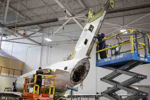 The comprehensive Challenger 300 series 7,500-cycle inspection requires the removal of the horizontal stabilizer, engines and many other components. Constant Aviation, the industry leader for this type of inspection, has completed 17 to date. (Photo: Business Wire)
