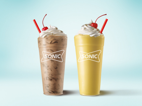SONIC® Drive-In kicks off the summer with two indulgent Shake flavors straight from the mixing bowl – the all new Brownie Batter Shake and the Yellow Cake Batter Shake. (Photo: Business Wire)