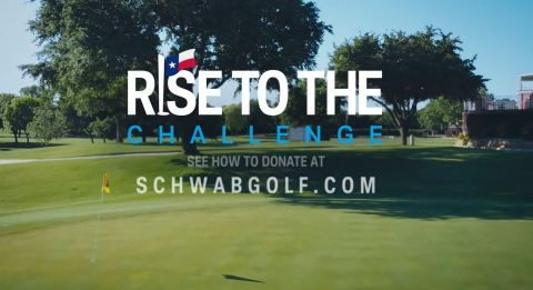 """The 2020 Charles Schwab Challenge golf tournament announced a new charitable platform, """"Rise to the Challenge,"""" to raise money benefiting the PGA TOUR's COVID-19 Relief Fund and Dallas-Fort Worth's Birdies for Charity Fund. (Graphic: Business Wire)"""