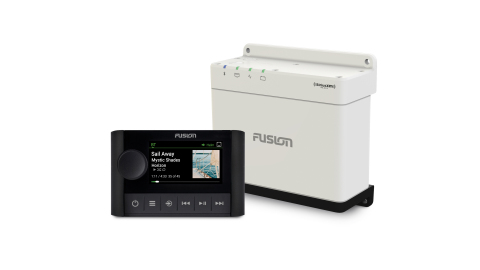 An extension of Fusion's award-winning Apollo series, the WB670 premium hideaway solution eliminates the need for a stereo to be present on the dash, while the ERX400 wired remote offers users complete audio entertainment control in an ultra-compact design that can be mounted in convenient places around the boat. (Photo: Business Wire)