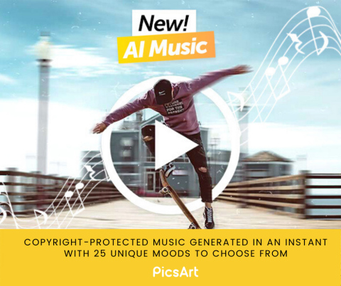 PicsArt launches AI Music giving creators the ability to add unique soundtracks based on mood, tone and more, to their videos (Graphic: Business Wire)