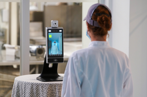 Certify's SnapXT fully integrated Thermal Management Platform enables touchless temperature scanning so employees can more safely return to work. Photo by Certify.