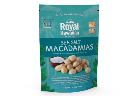 Royal Hawaiian now offers its sea salt macadamias in a 24-oz bag for sharing (Photo: Business Wire)