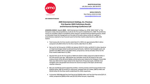 AMC Entertainment Holdings, Inc. First Quarter Preliminary Results