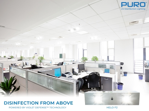 UV light disinfection from above - fixtures in the ceiling offer whole room clinical-level cleaning (via PURO Lighting partnership) (Photo: Business Wire)