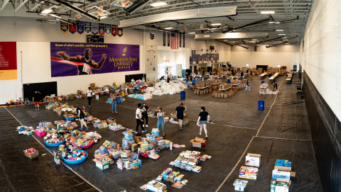 Urban Ventures transforms gymnasium to receive and distribute donations to South Minneapolis families and businesses in need. (Photo: Business Wire)