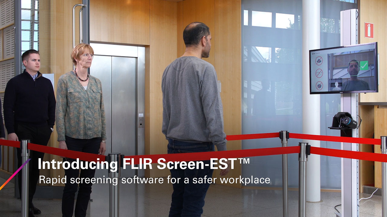 FLIR Screen-EST software provides automatic measurement tools that perform elevated skin temperature screenings of individuals in two seconds or less at entries, checkpoints, and other high-traffic areas while maintaining recommended social distancing guidelines.