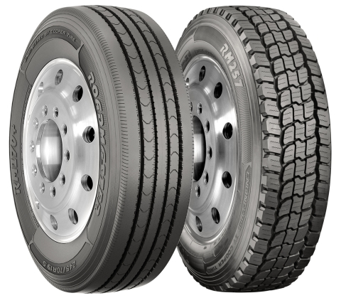Cooper Tire has launched two new 19.5-inch tires, the Roadmaster RM170+ steer tire (left) and Roadmaster RM257 drive tire (right), for the final mile, pick-up and delivery, and emergency vehicle tire segments. (Photo: Business Wire)