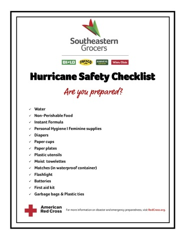 Southeastern Grocers is encouraging its customers to begin preparations for what is proving to be an active hurricane season in the Atlantic. Customers should begin to stock up on vital items including a three-day supply of water and non-perishable food, extra batteries, first-aid kits and more. (Photo: Business Wire)