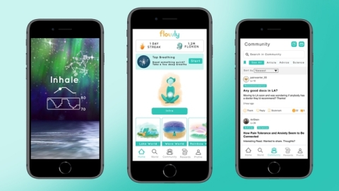 Flowly Mobile app manages symptoms through virtual reality and relaxation training anytime, anywhere (Photo: Business Wire)