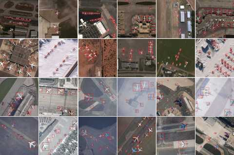 Example of the real and synthetic datasets present in RarePlanes. The top two rows feature the real Maxar WorldView-3 satellite imagery and the bottom two rows show the AI.Reverie synthetic data. The dataset features variable weather conditions, biomes, and ground surface types. (Photo: Business Wire)