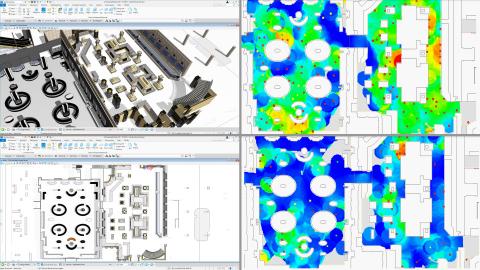 左上はOpenBuildings Station Designerで作成した小売店運用の3Dモデル。左下は2D図面で、それをLEGION Simulatorに読み込んで2通りのシナリオでテスト(右)。例は混雑率75%(右上)と、安全な対人距離の条件を満たした25%(右下)。(写真:ビジネスワイヤ)