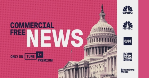 TuneIn Premium's commercial-free news lineup. (Graphic: Business Wire)