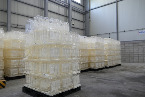 Samsung's plastic wafer boxes waiting to be recycled. (Photo: Business Wire)